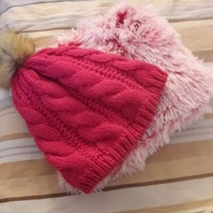 bundle of Pink hat and beanie.